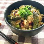 旬のアスパラガス|生姜が香るホロホロ食感、アスパラガス入りタコ飯
