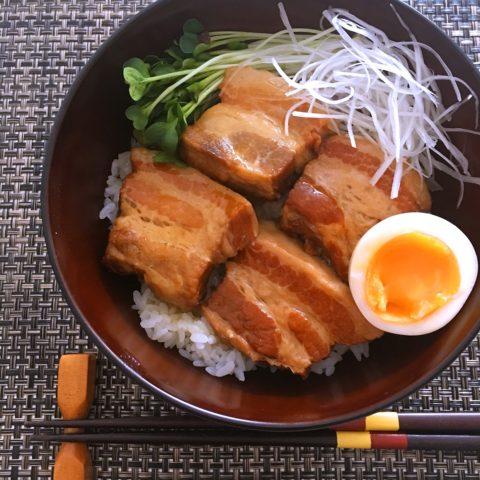豚の角煮丼 圧力鍋を使用
